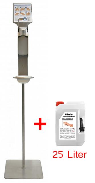 Hygienesäule - Manuell (Made in Germany) + 25 L Desinfektionsmittel