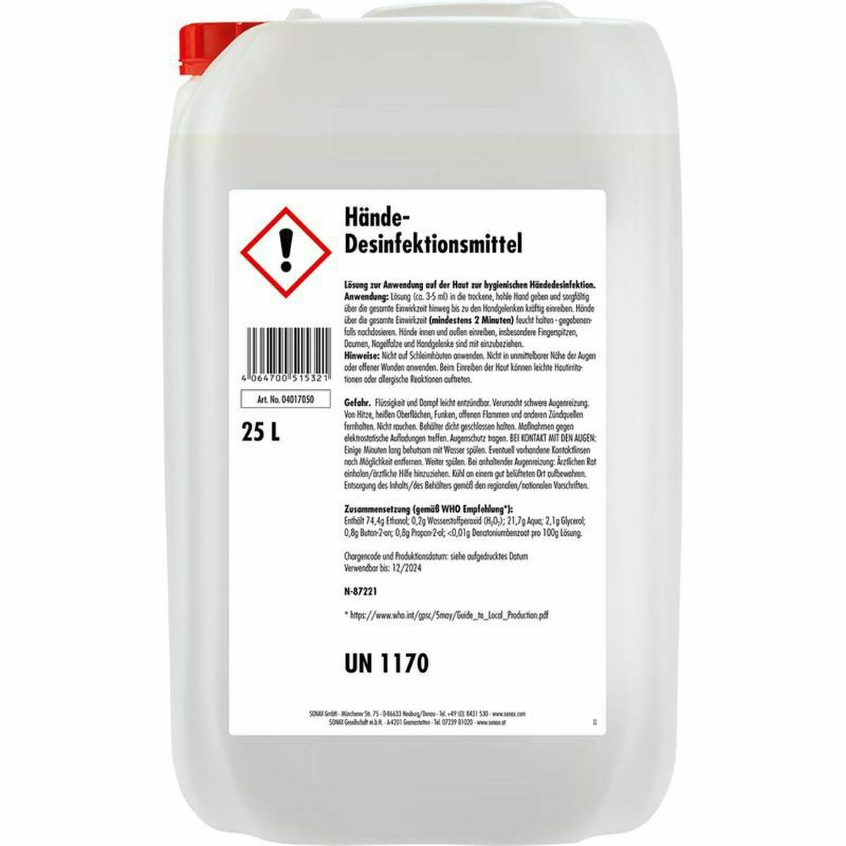 Hand-Desinfektionsmittel 25L-Kanister - SONAX®